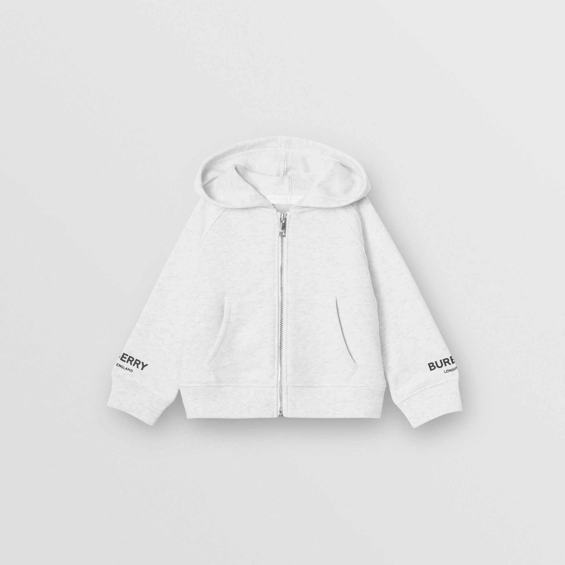 Logo Print Cotton Hooded Top in White Melange - Children | Burberry - gallery image 0