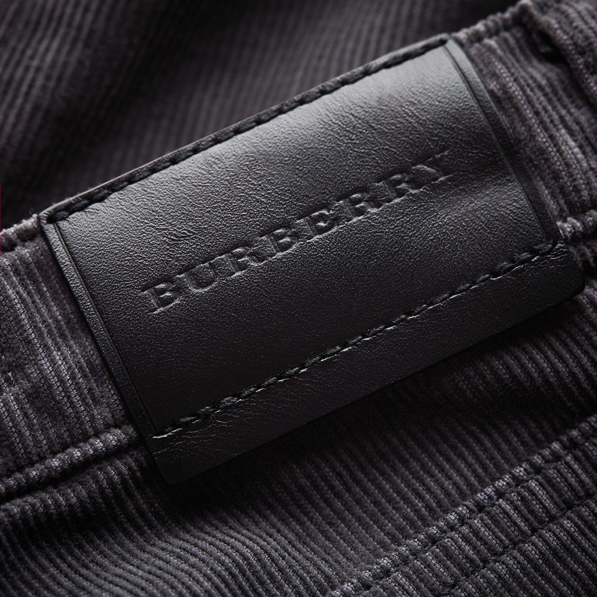 Skinny Fit Stretch Cord Trousers in Dark Grey - Boy | Burberry - gallery image 1