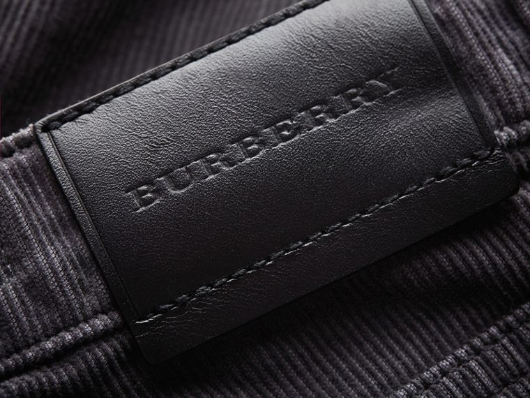 Skinny Fit Stretch Cord Trousers in Dark Grey - Boy | Burberry - cell image 1