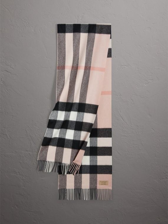 Grande écharpe classique en cachemire à motif check (Rose Cendré)