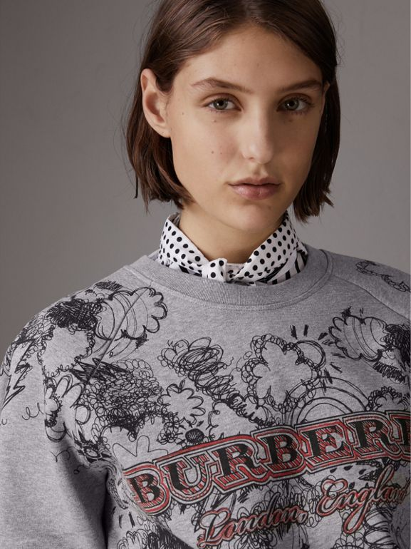 Doodle Print Jersey Sweatshirt in Pale Grey Melange - Women | Burberry - cell image 1