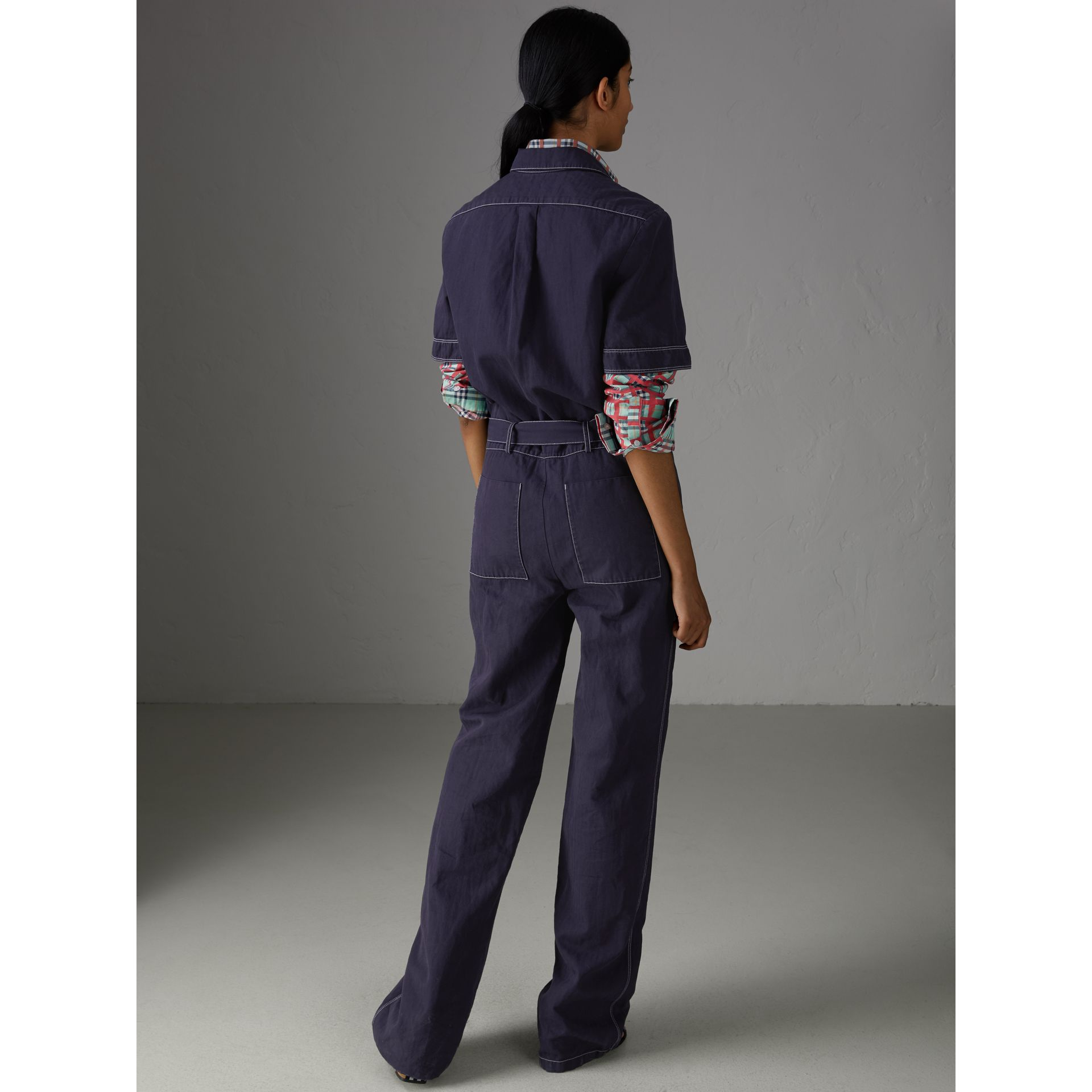 Cotton Linen Workwear Jumpsuit in Deep Indigo - Women | Burberry - gallery image 2