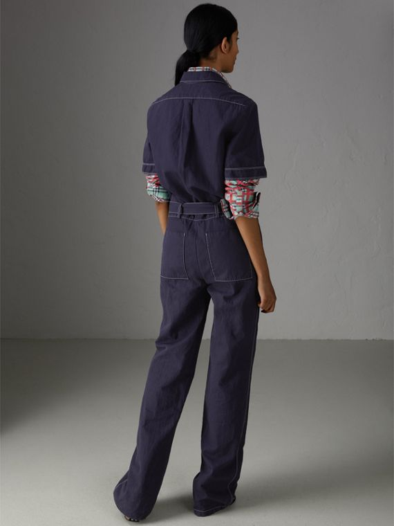 Cotton Linen Workwear Jumpsuit in Deep Indigo - Women | Burberry - cell image 2