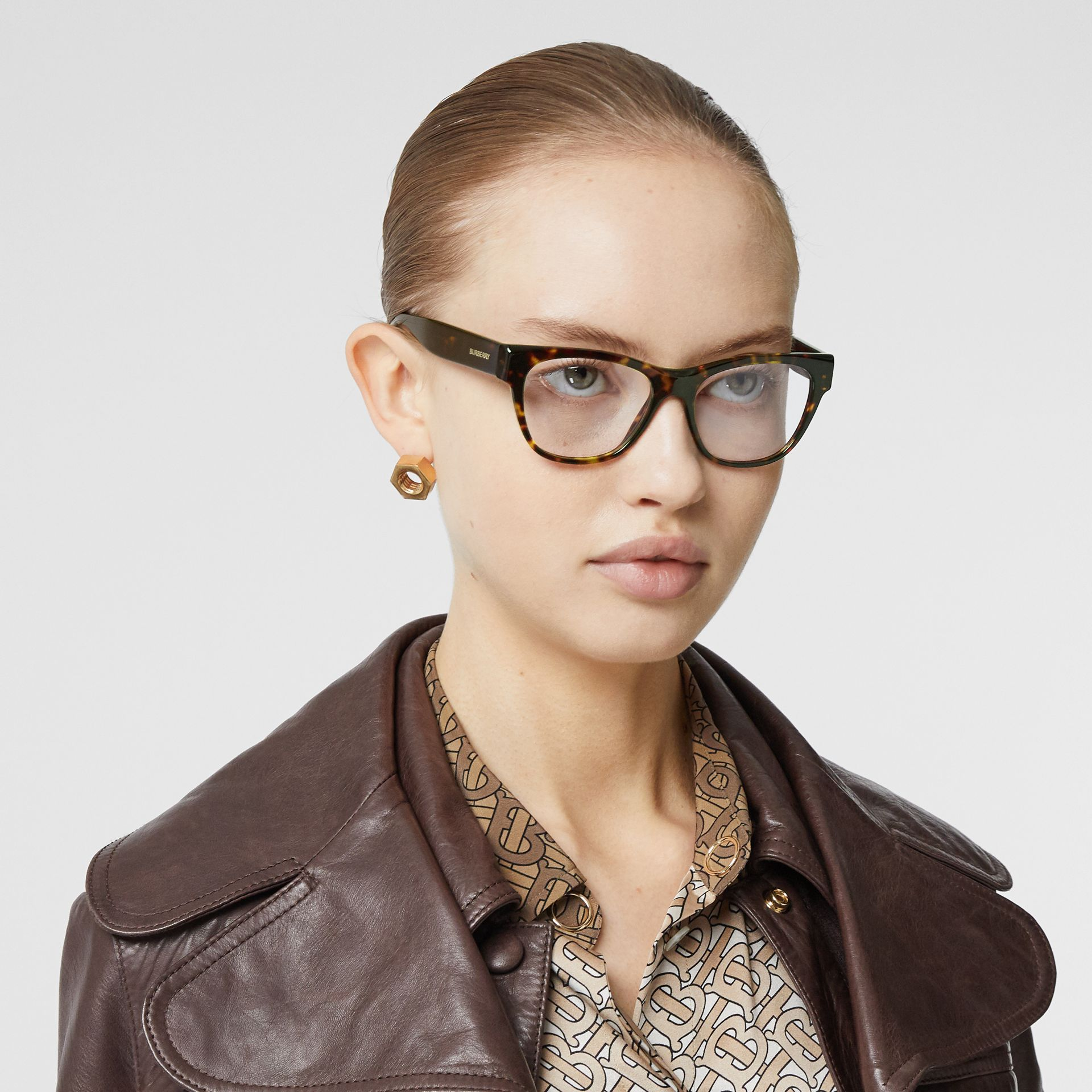 Square Optical Frames in Tortoiseshell - Women | Burberry - gallery image 2