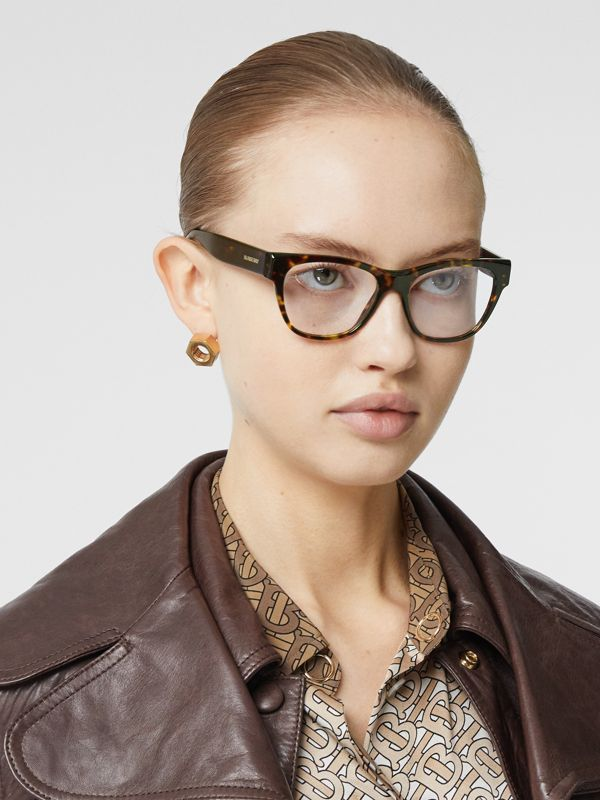 Square Optical Frames in Tortoiseshell - Women | Burberry United Kingdom - cell image 2