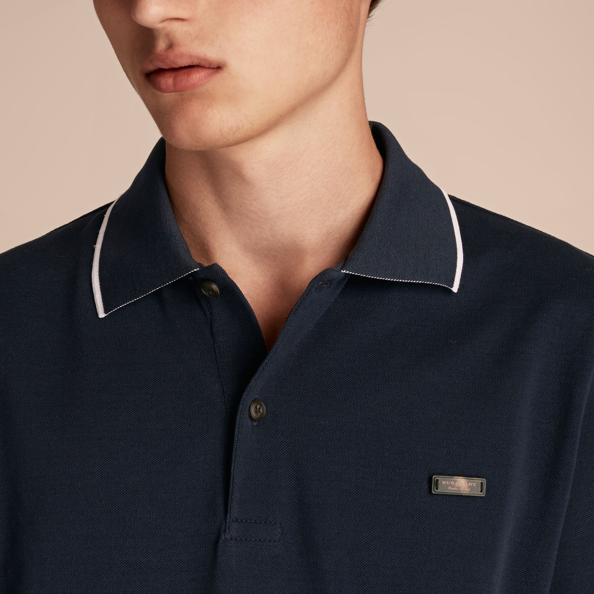 Tipped Collar Cotton Piqué Polo Shirt in Navy - Men | Burberry - gallery image 5