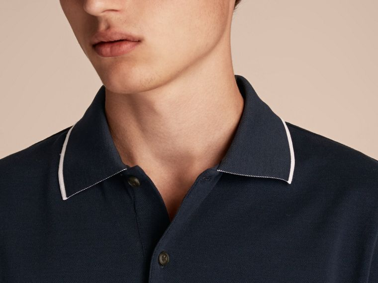 Tipped Collar Cotton Piqué Polo Shirt in Navy - Men | Burberry - cell image 4