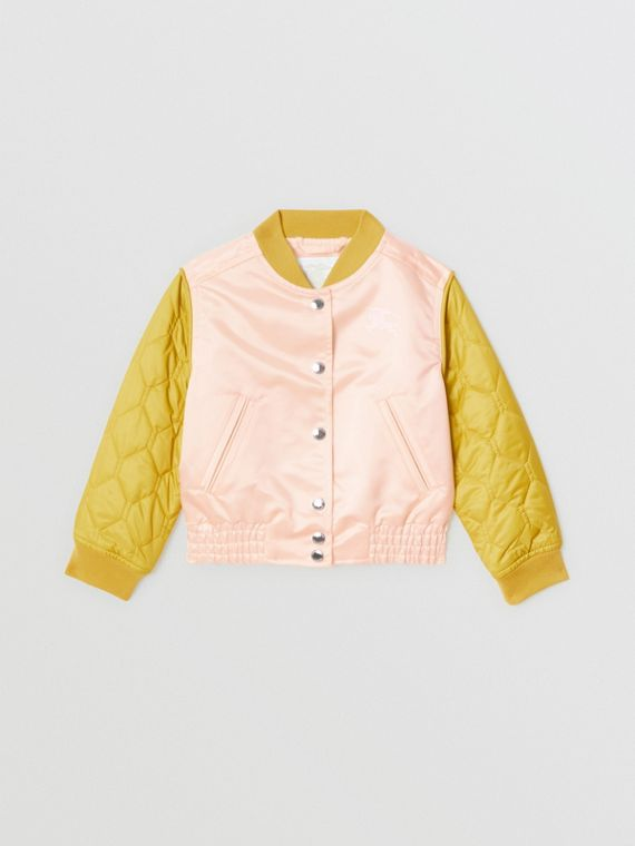 Contrast-sleeve Nylon Bomber Jacket in Pale Pink