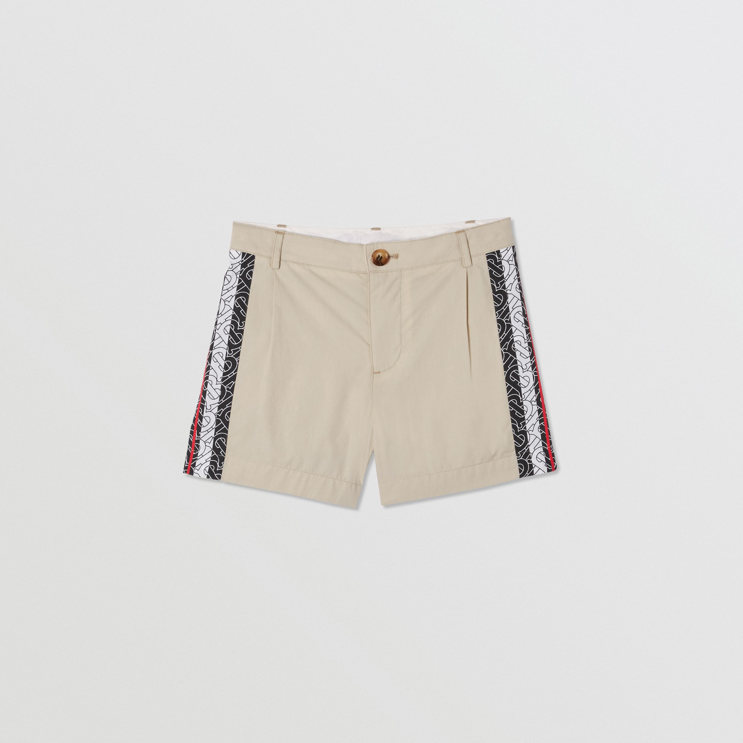 Monogram Stripe Print Cotton Tailored Shorts in Stone | Burberry - 1