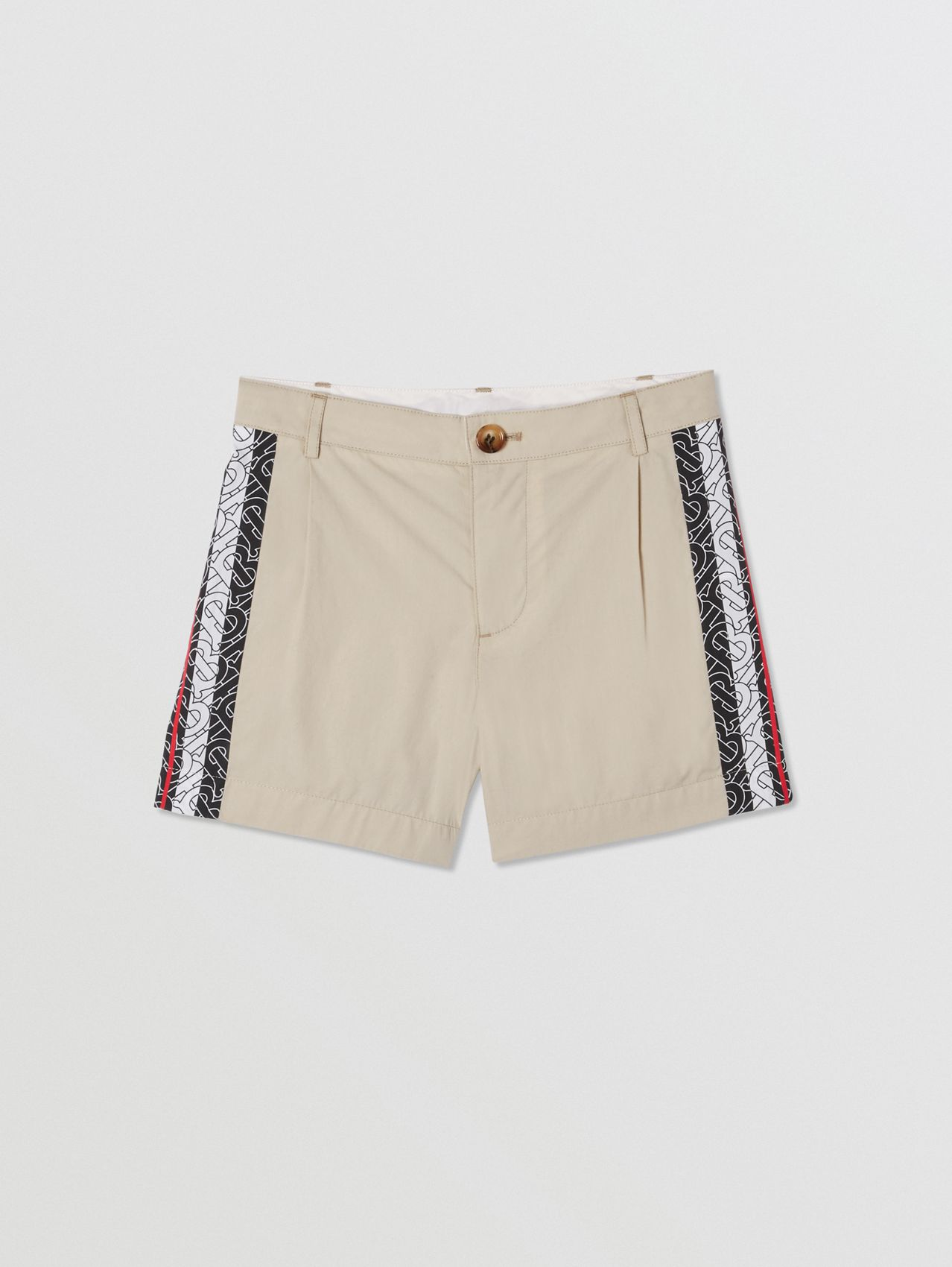 Monogram Stripe Print Cotton Tailored Shorts (Stone)