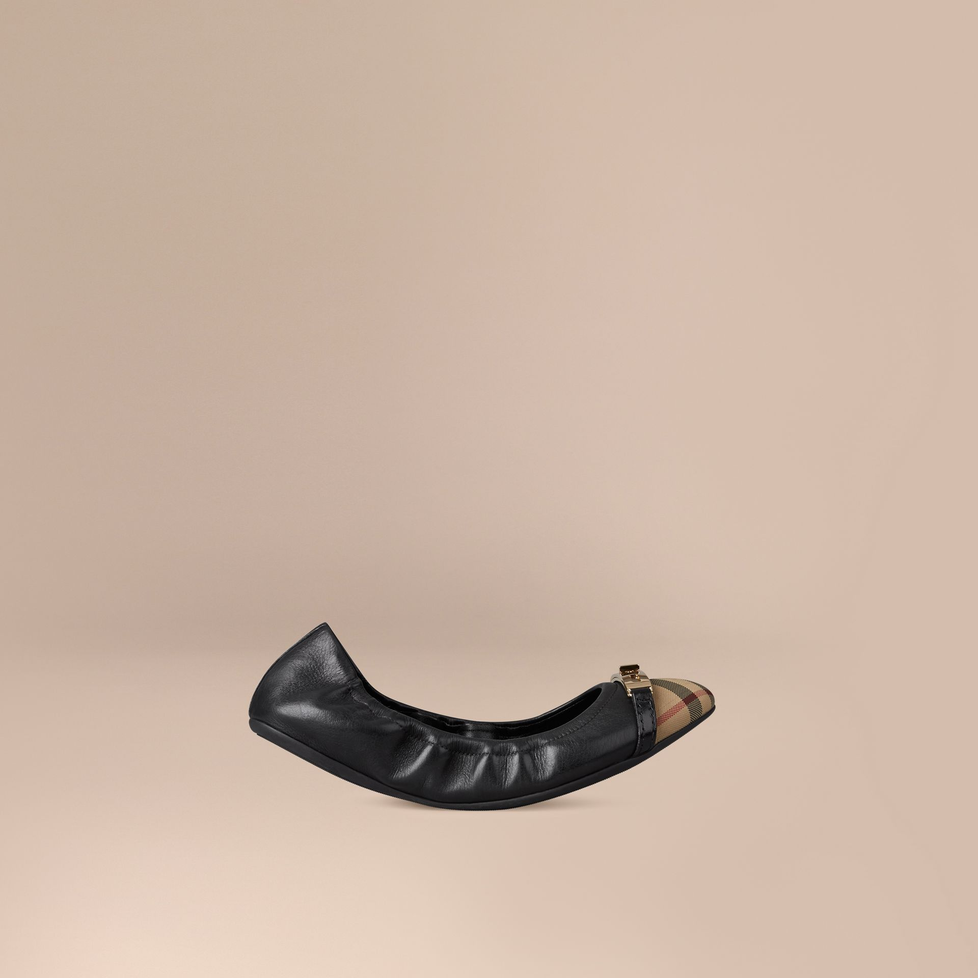 Horseferry Check Leather Ballerinas in Black - gallery image 1