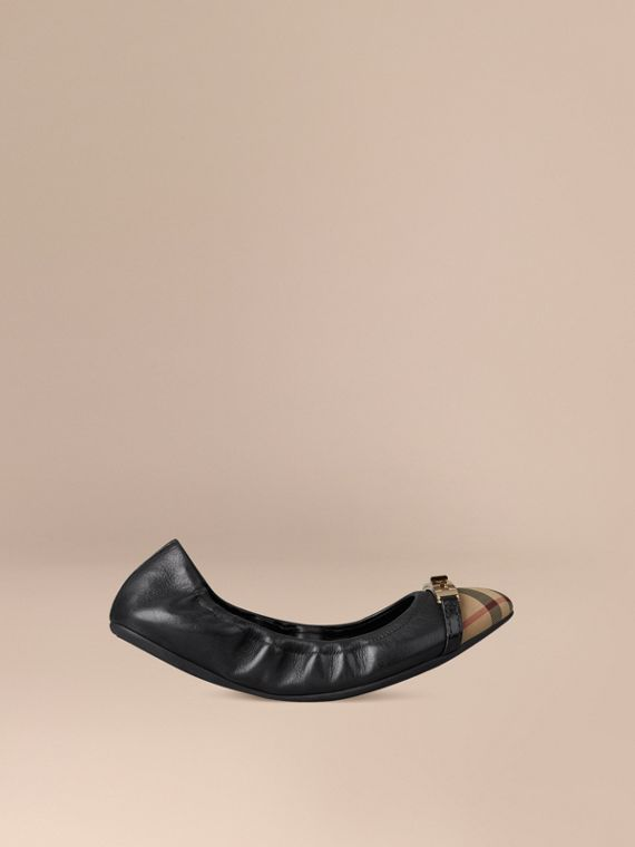 Horseferry Check Leather Ballerinas in Black - Women | Burberry Australia