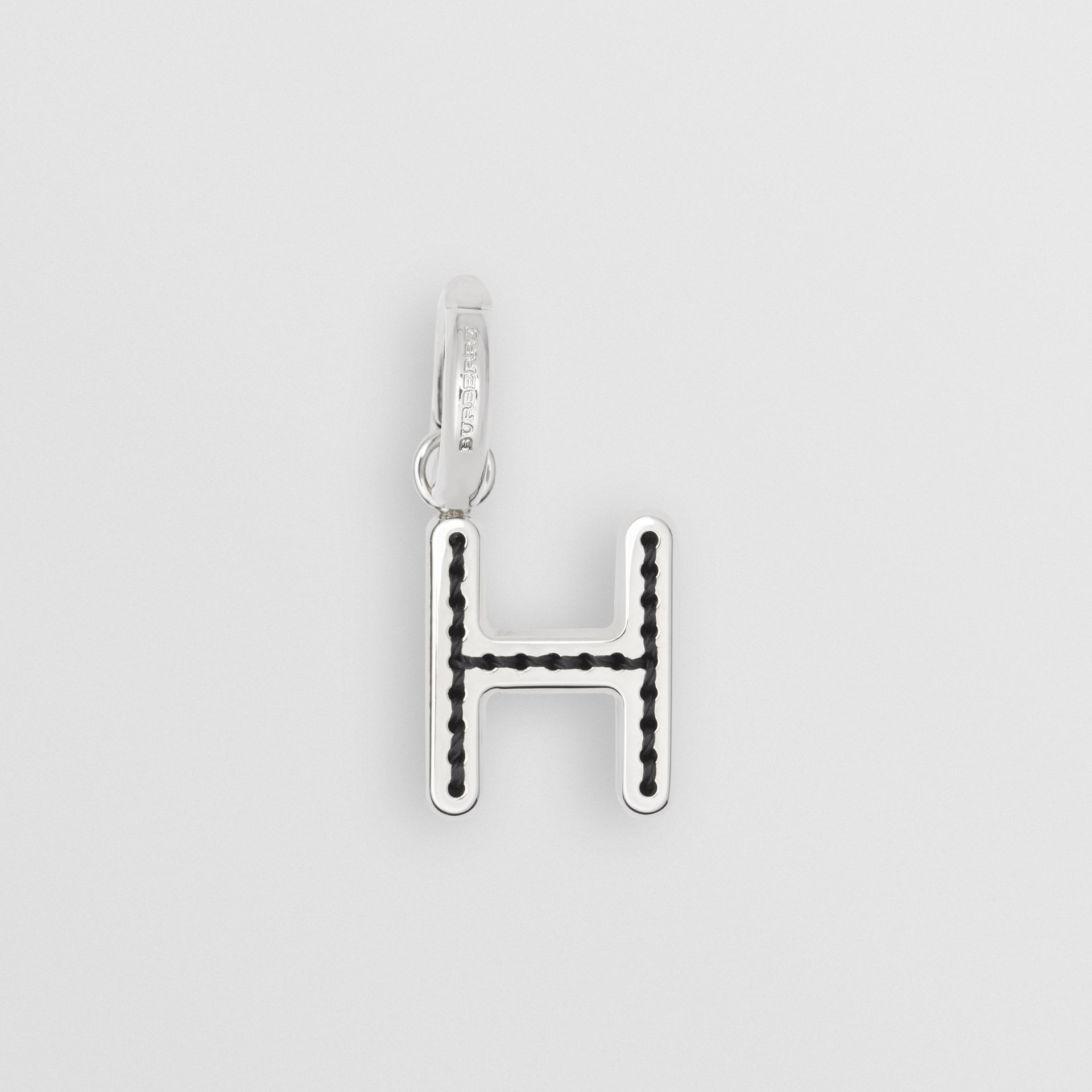 Leather-topstitched 'H' Alphabet Charm in Palladio/grey - Women | Burberry United Kingdom - gallery image 0