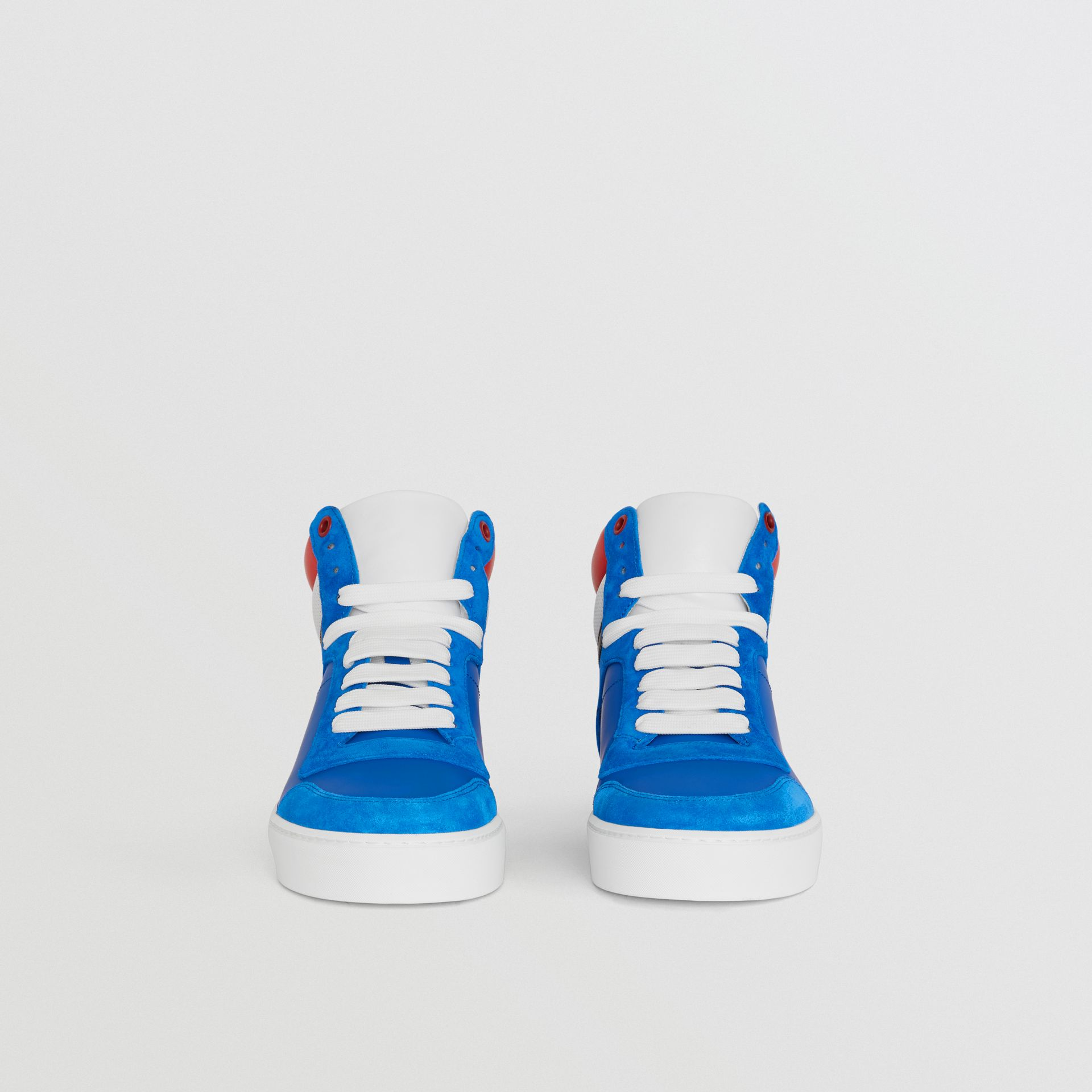 Leather and Suede High-top Sneakers in Bright Sky Blue - Women | Burberry - gallery image 3