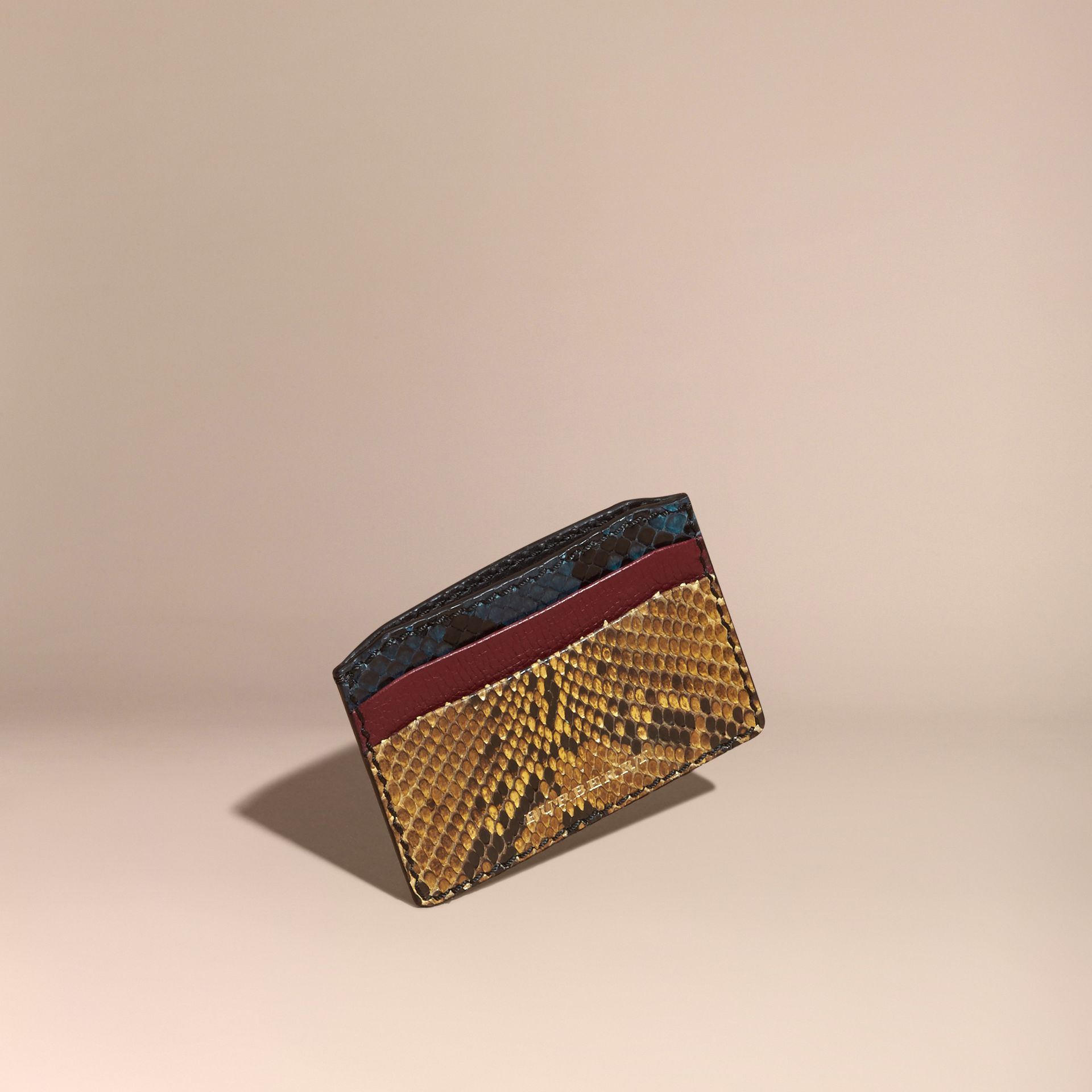 Colour Block Snakeskin and Leather Card Case Elderberry - gallery image 1