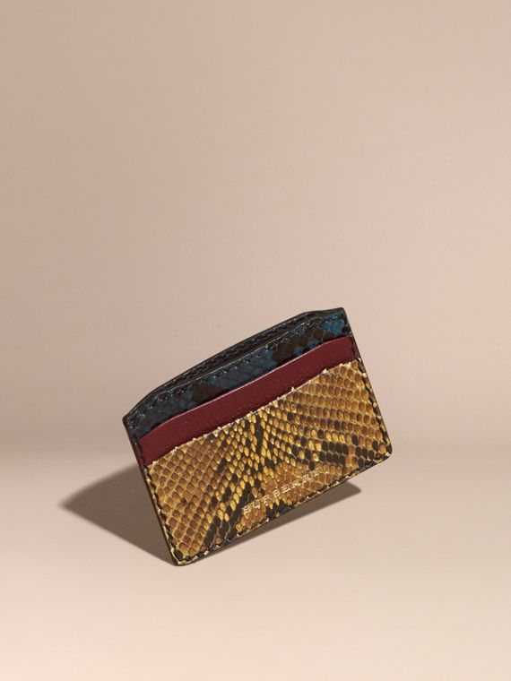 Colour Block Snakeskin and Leather Card Case Elderberry