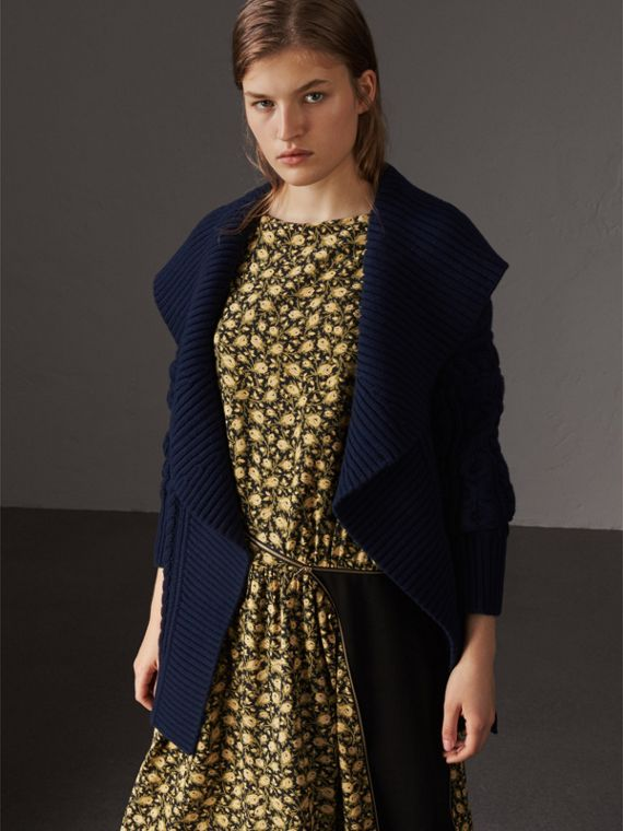 Cable Knit Wool Cashmere Wrap Cardigan in Navy