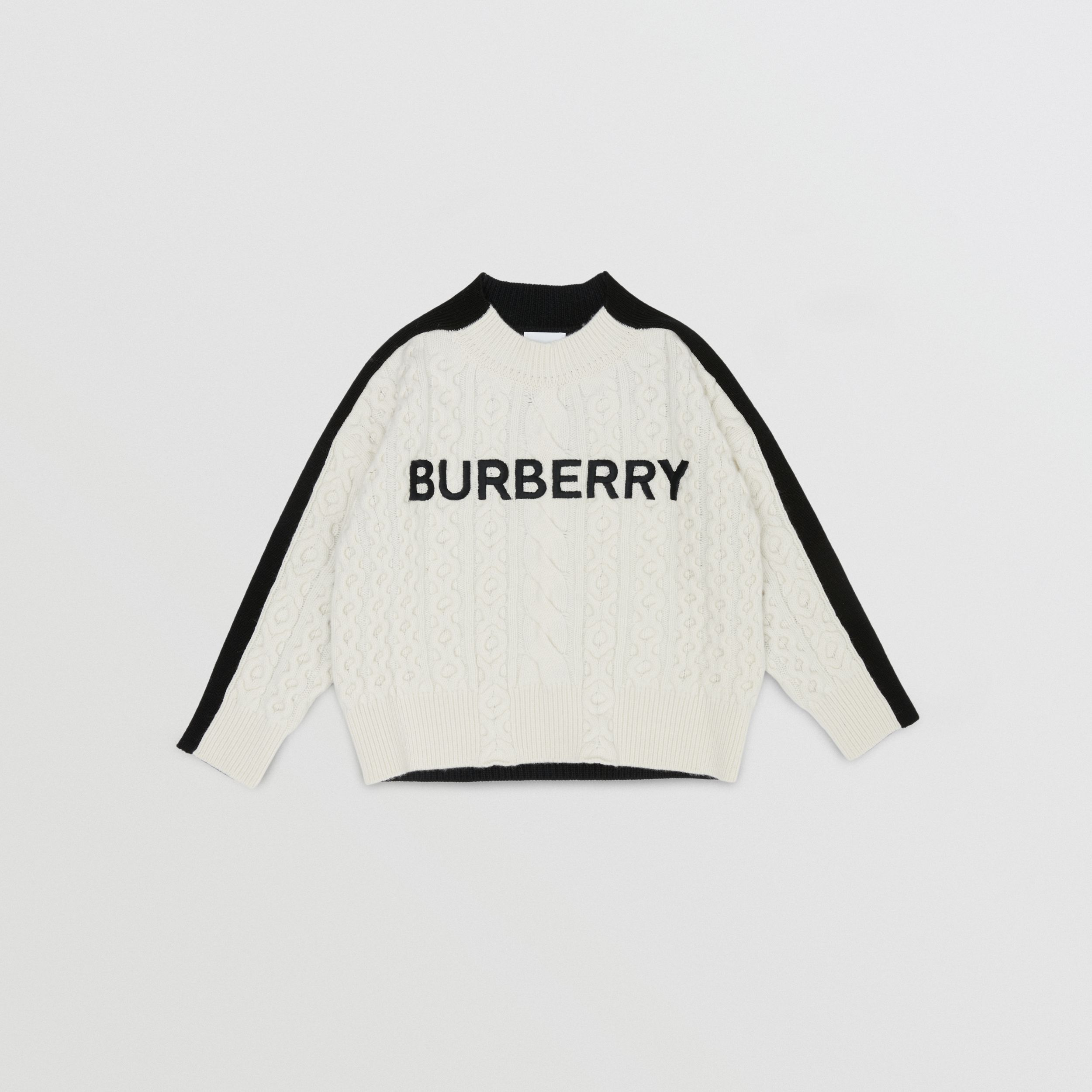 Embroidered Logo Cable Knit Wool Blend Sweater in White/black | Burberry - 1