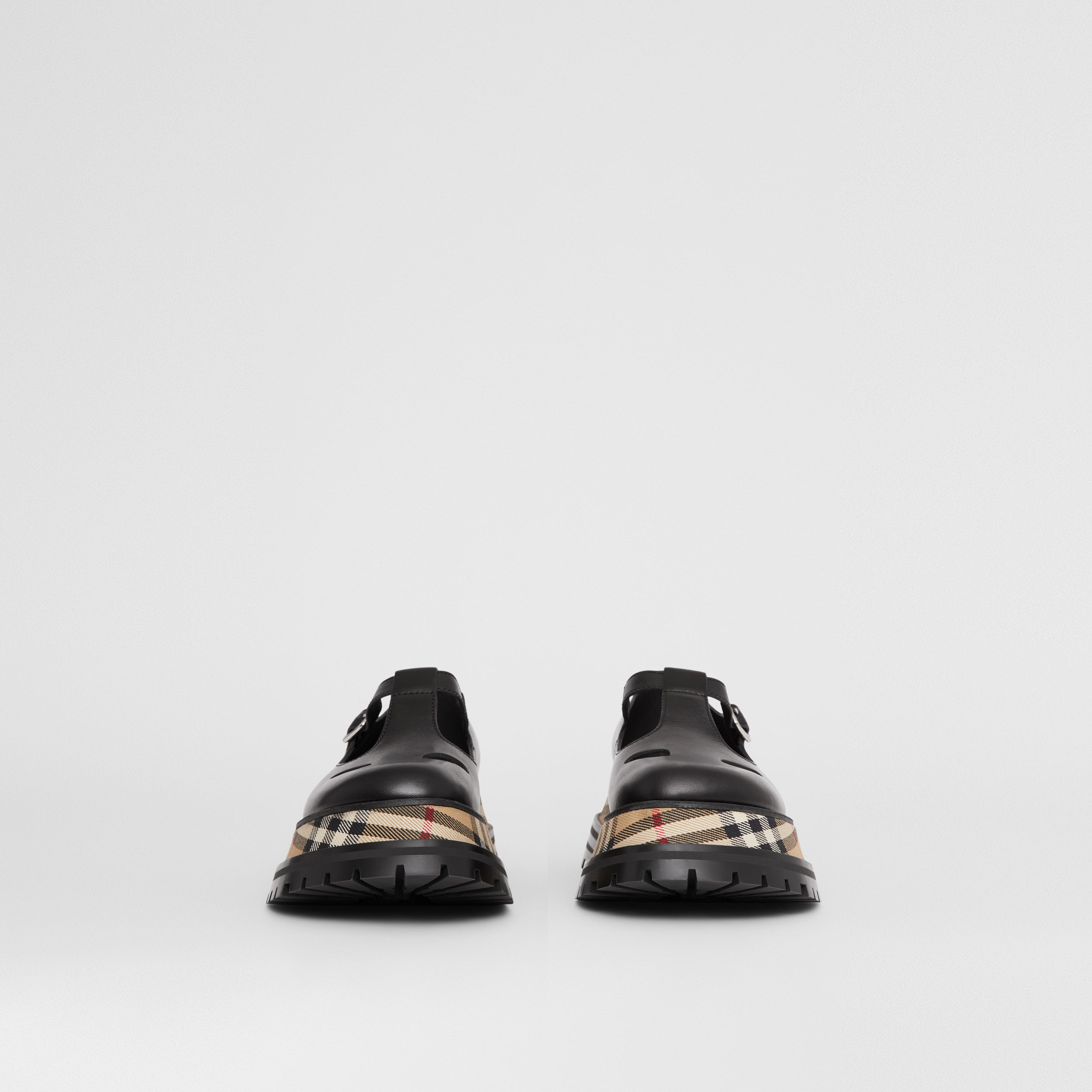Vintage Check Detail Leather T-bar Shoes in Black - Women | Burberry - 4