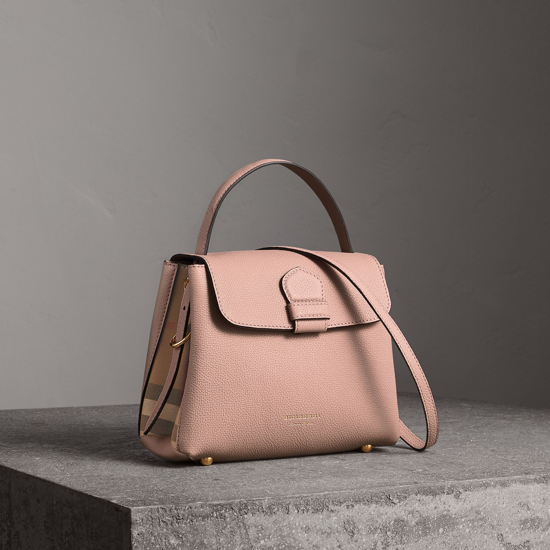 Small Grainy Leather and House Check Tote Bag in Pale Orchid - Women | Burberry - gallery image 0