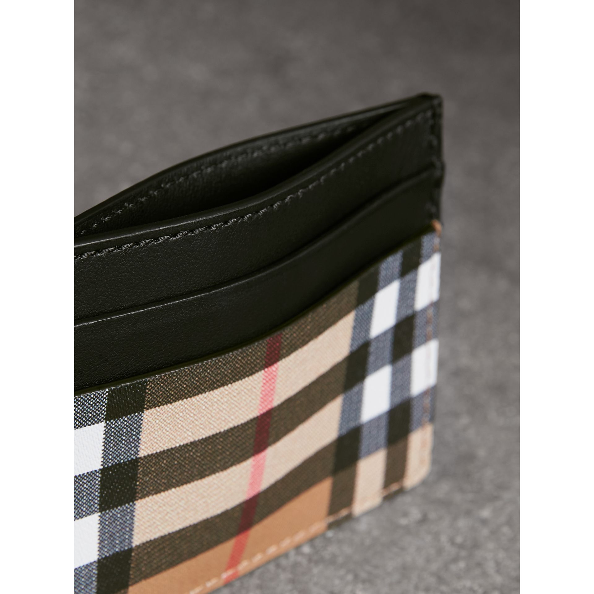 Vintage Check Leather Card Case in Black | Burberry - gallery image 3