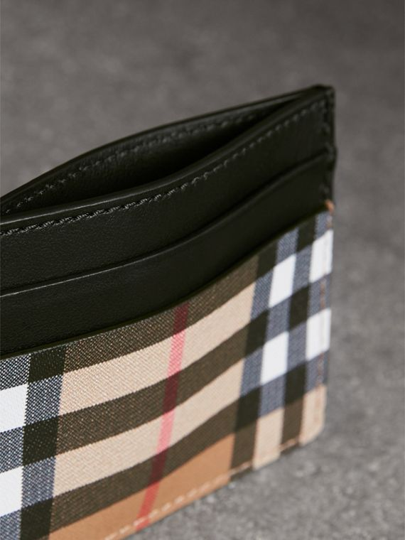 Vintage Check Leather Card Case in Black | Burberry Australia - cell image 3
