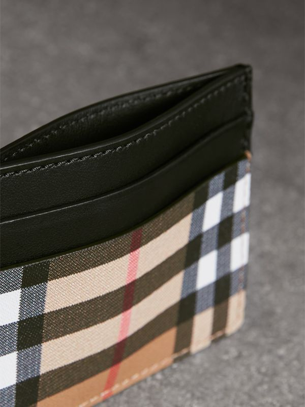 Vintage Check Leather Card Case in Black | Burberry United States - cell image 3