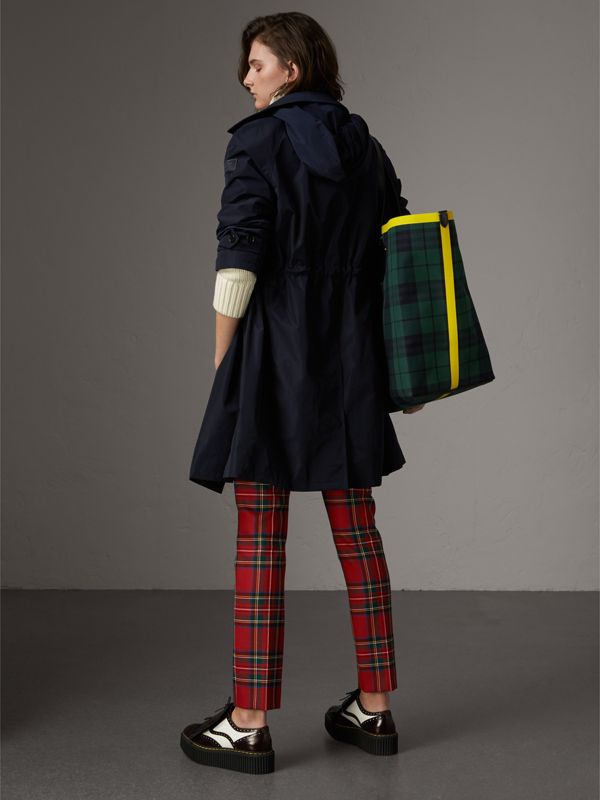 Detachable Hood Showerproof Car Coat in Navy - Women | Burberry - cell image 2