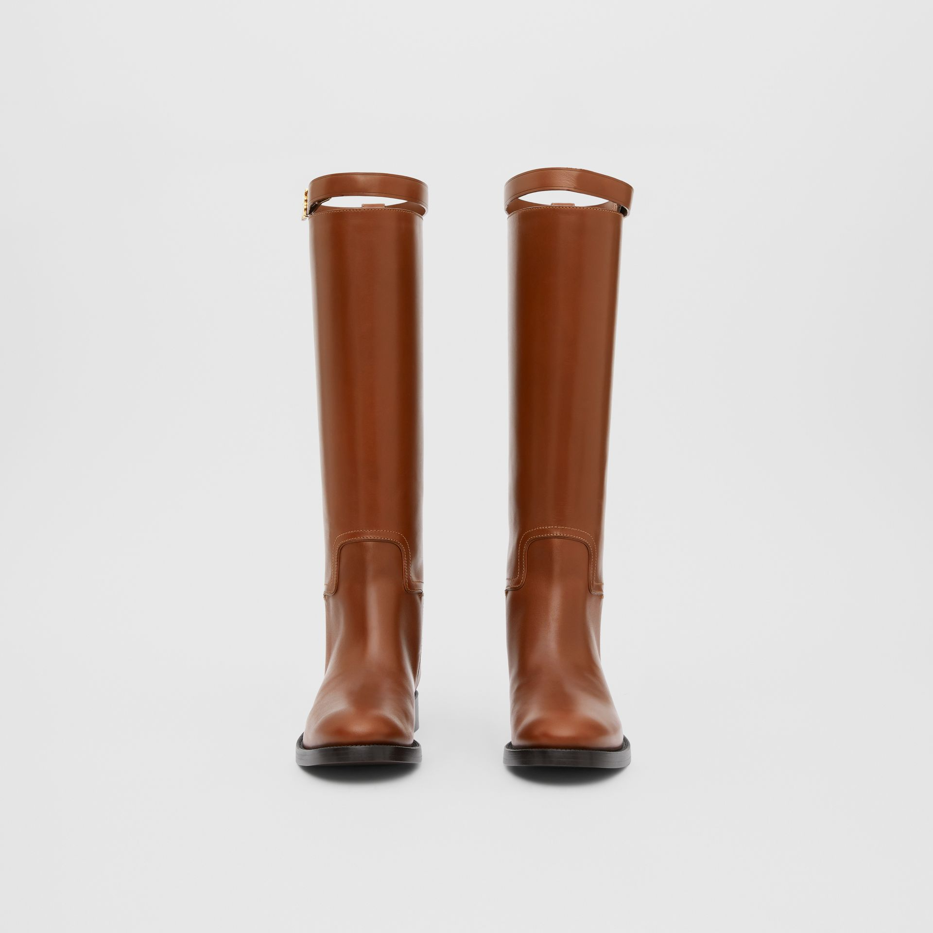 Monogram Motif Leather Knee-high Boots in Tan - Women | Burberry United Kingdom - gallery image 2