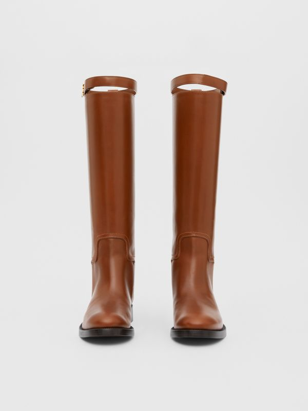 Monogram Motif Leather Knee-high Boots in Tan - Women | Burberry United Kingdom - cell image 2