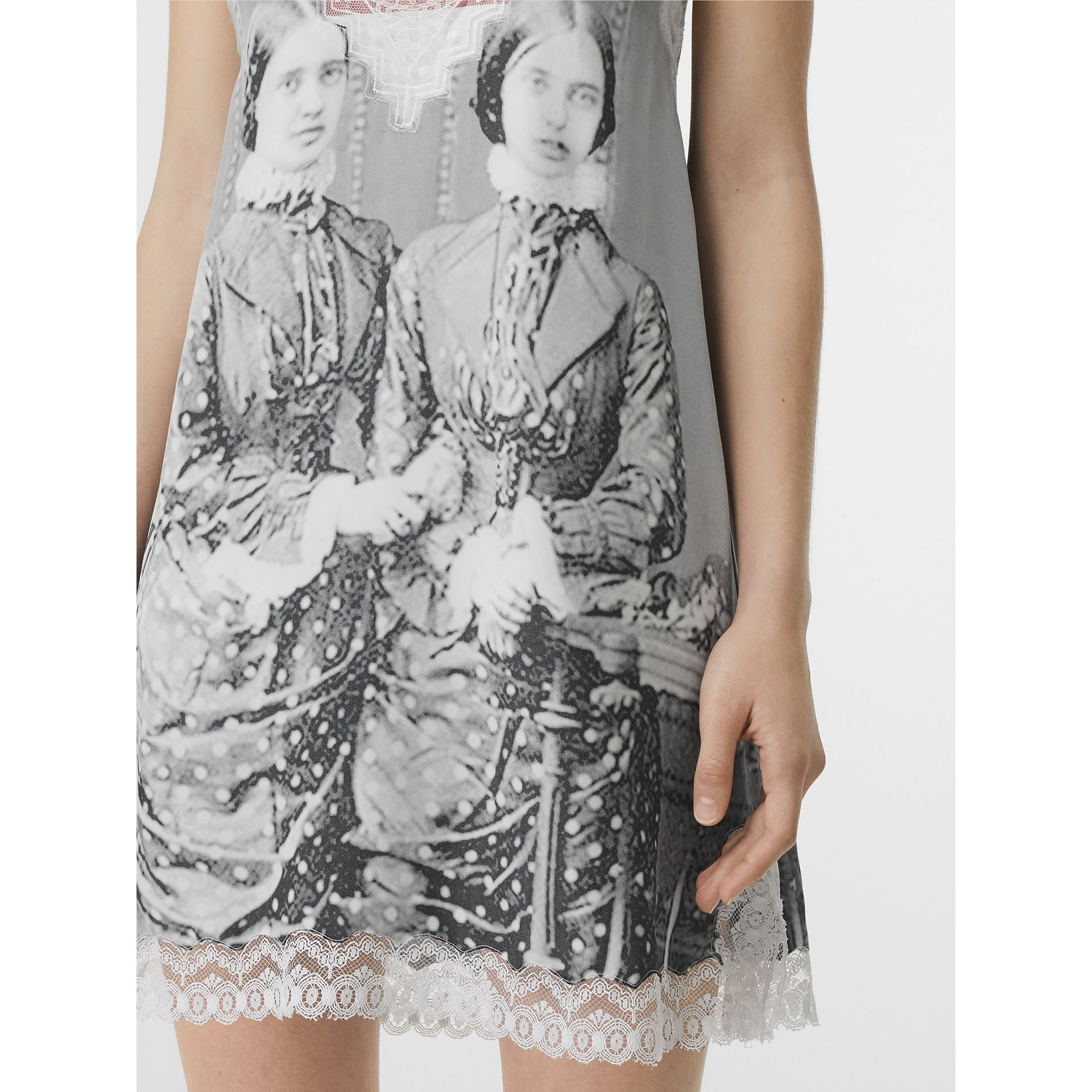 Lace Detail Victorian Portrait Print Silk Slip Dress in Grey - Women | Burberry - gallery image 1