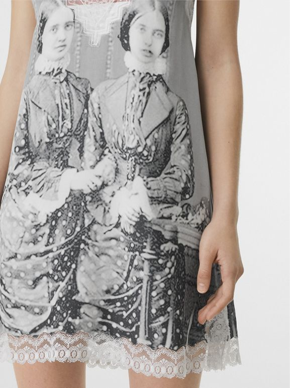 Lace Detail Victorian Portrait Print Silk Slip Dress in Grey - Women | Burberry - cell image 1