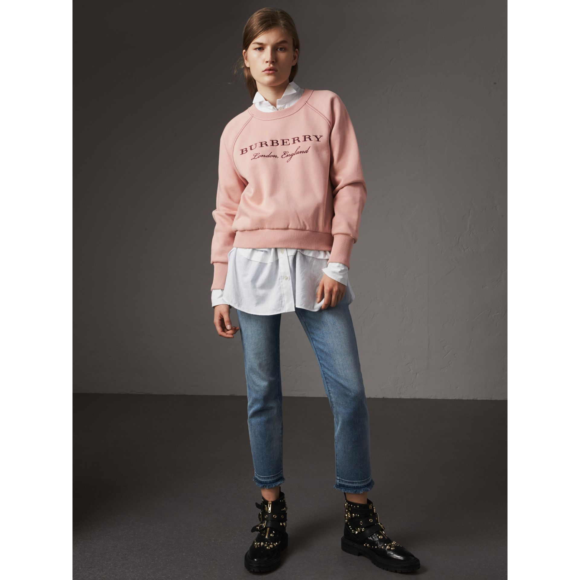 Embroidered Cotton Blend Jersey Sweatshirt in Ash Rose - Women | Burberry Hong Kong - gallery image 4