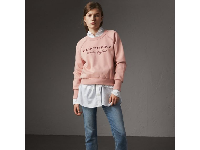Embroidered Cotton Blend Jersey Sweatshirt in Ash Rose - Women | Burberry Singapore - cell image 4