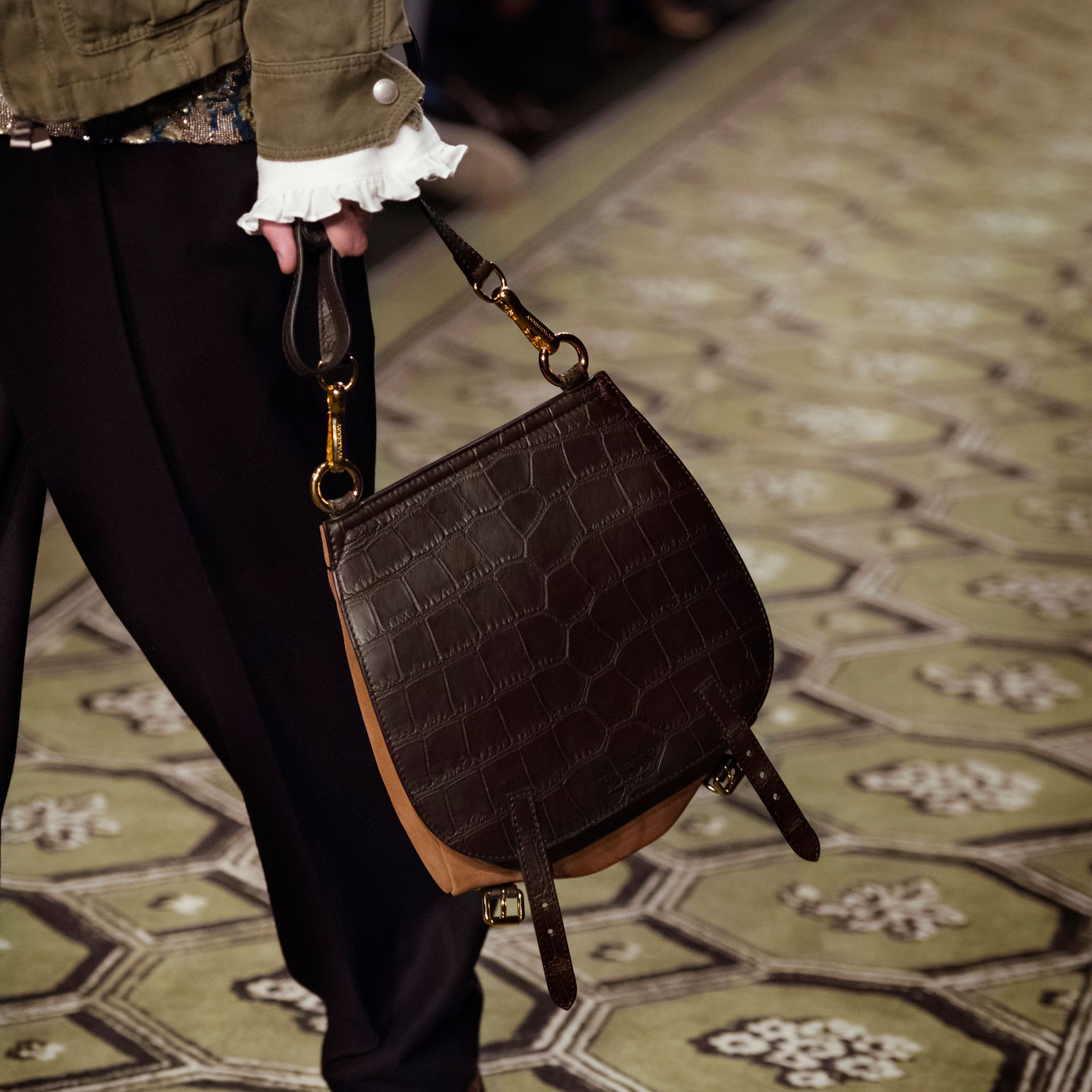 The Small Bridle Bag in Alligator and Suede - Men | Burberry - gallery image 9