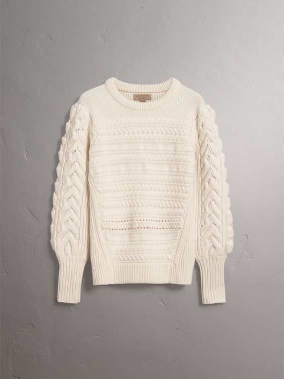 Cable Knit Wool Cashmere Sweater in Natural White - Women | Burberry - cell image 3