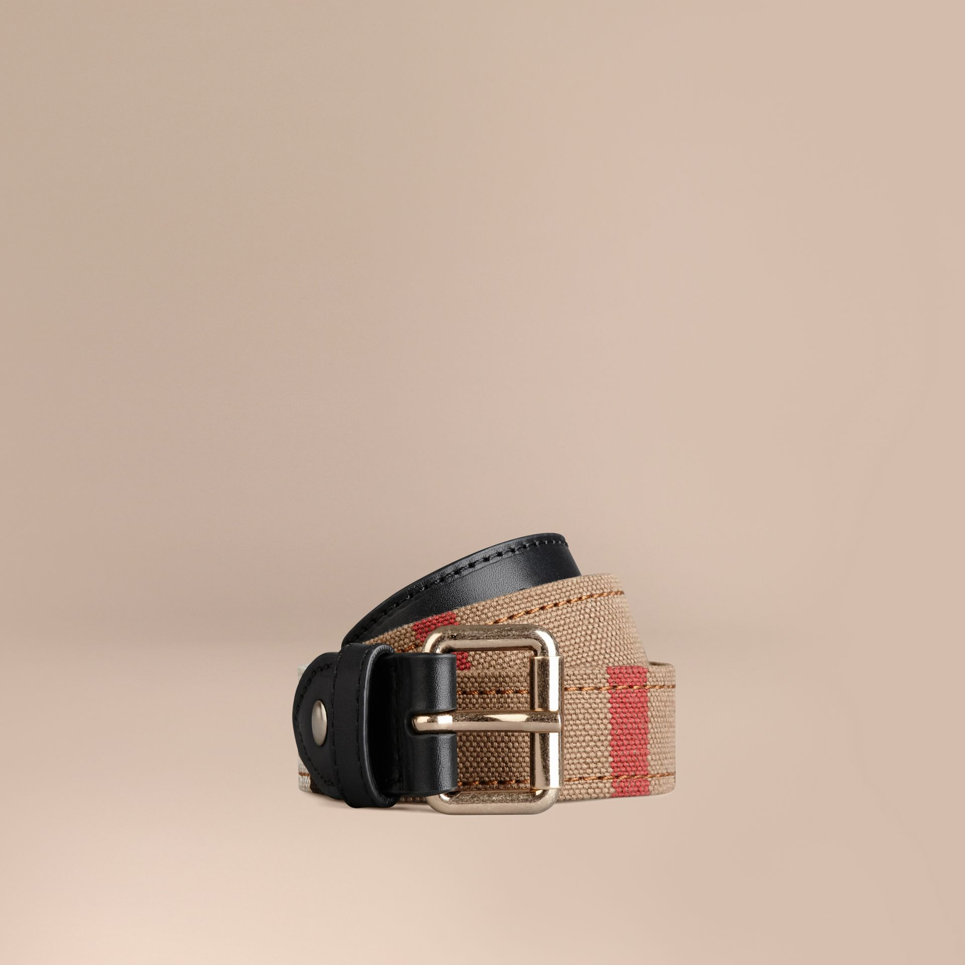 Black Canvas Check and Leather Belt - gallery image 1