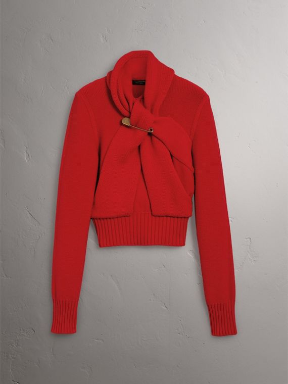 Cashmere Tie-neck Sweater in Red - Women | Burberry - cell image 3