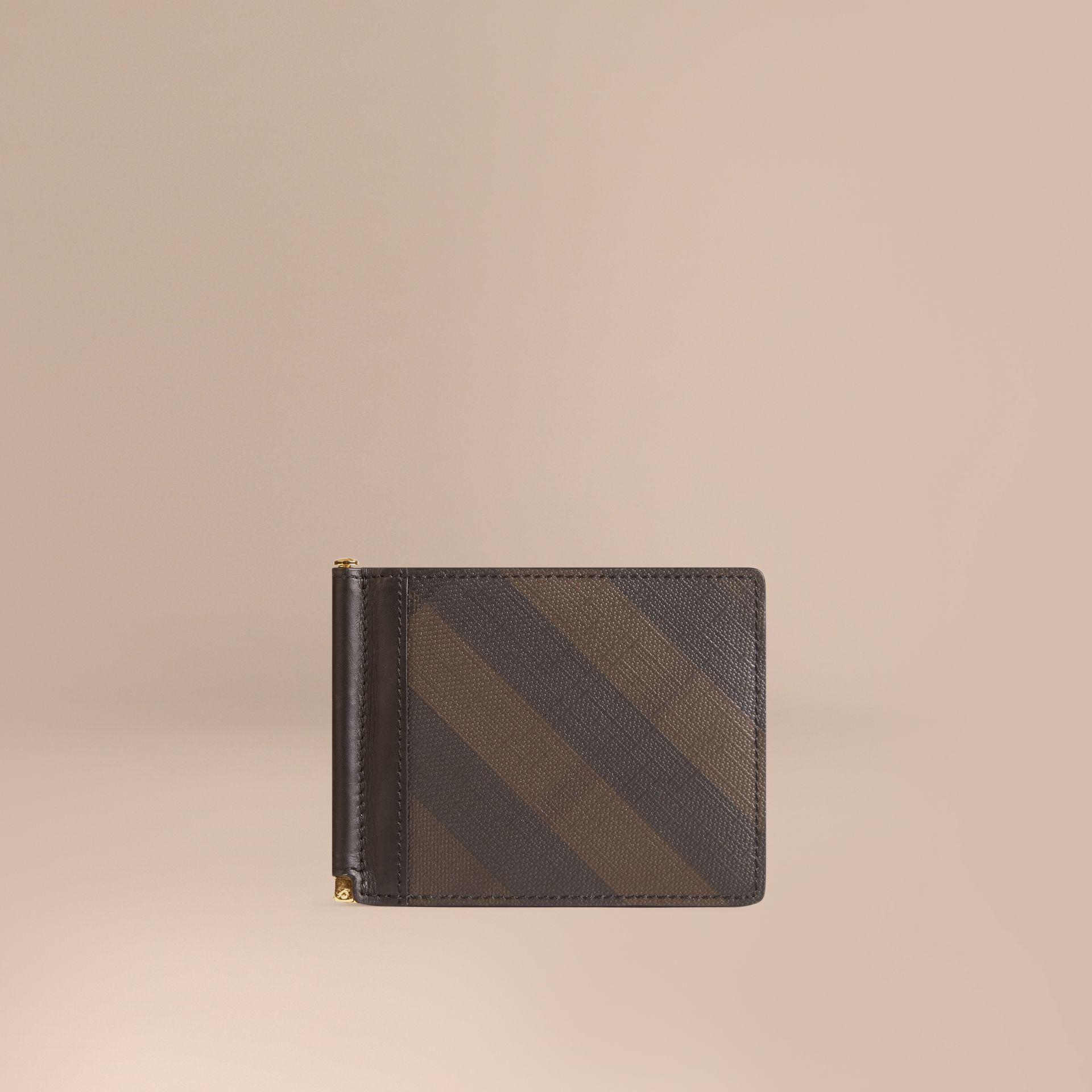 Chocolate/black London Check Money Clip Wallet Chocolate/black - gallery image 1
