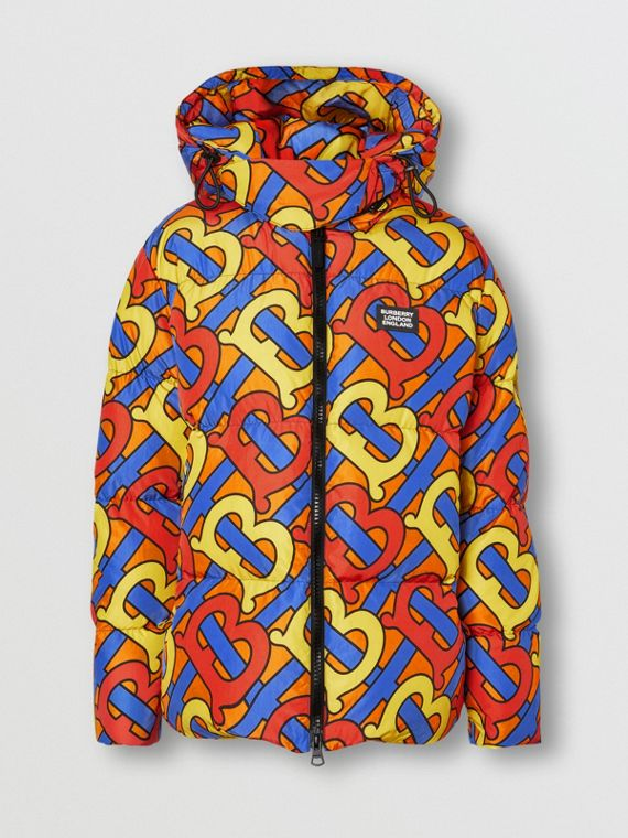Monogram Print Oversized Puffer Jacket in Multicolour