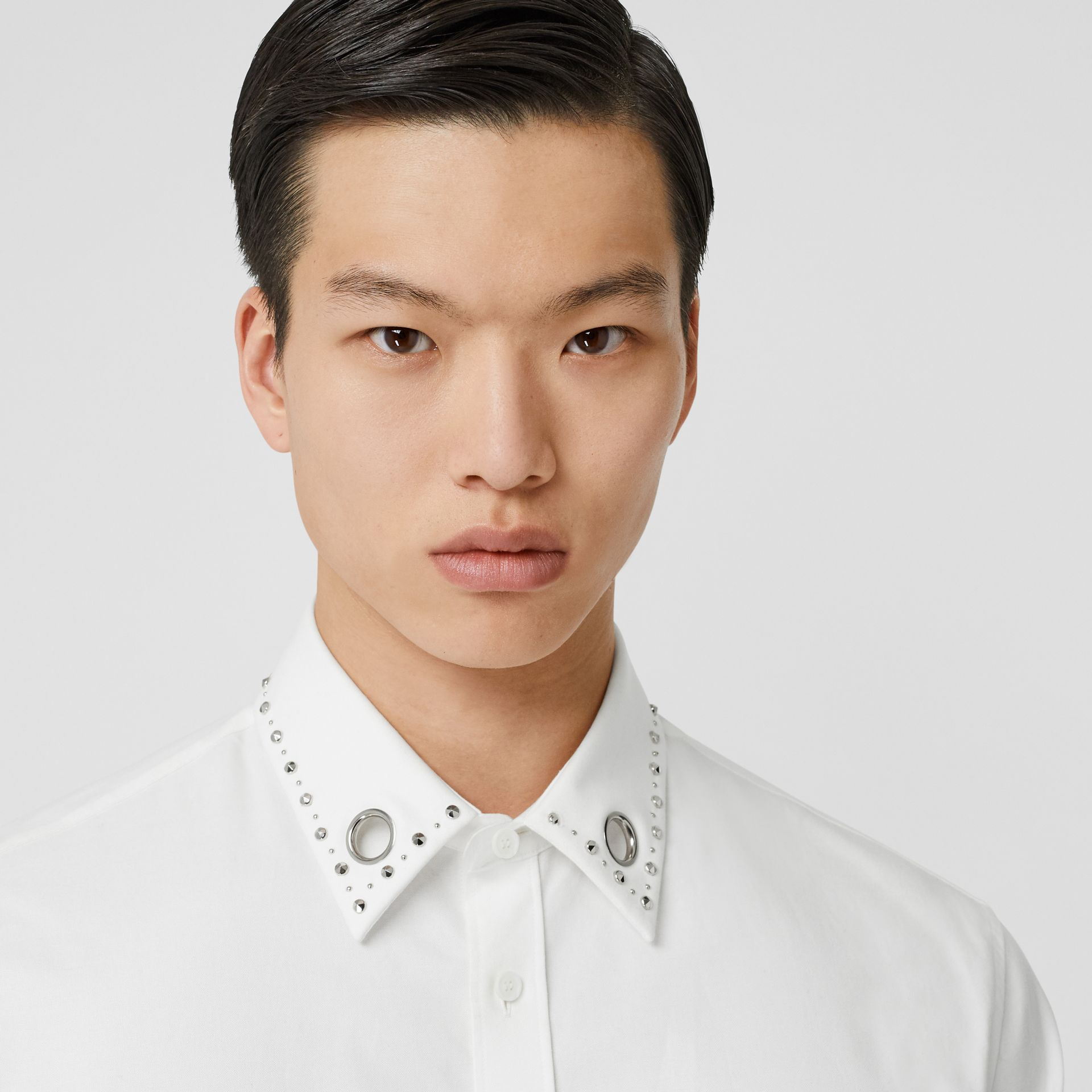 Classic Fit Stud Detail Cotton Oxford Shirt in White - Men | Burberry - gallery image 1