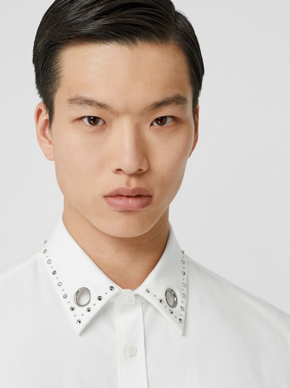 Classic Fit Stud Detail Cotton Oxford Shirt in White - Men | Burberry - cell image 1