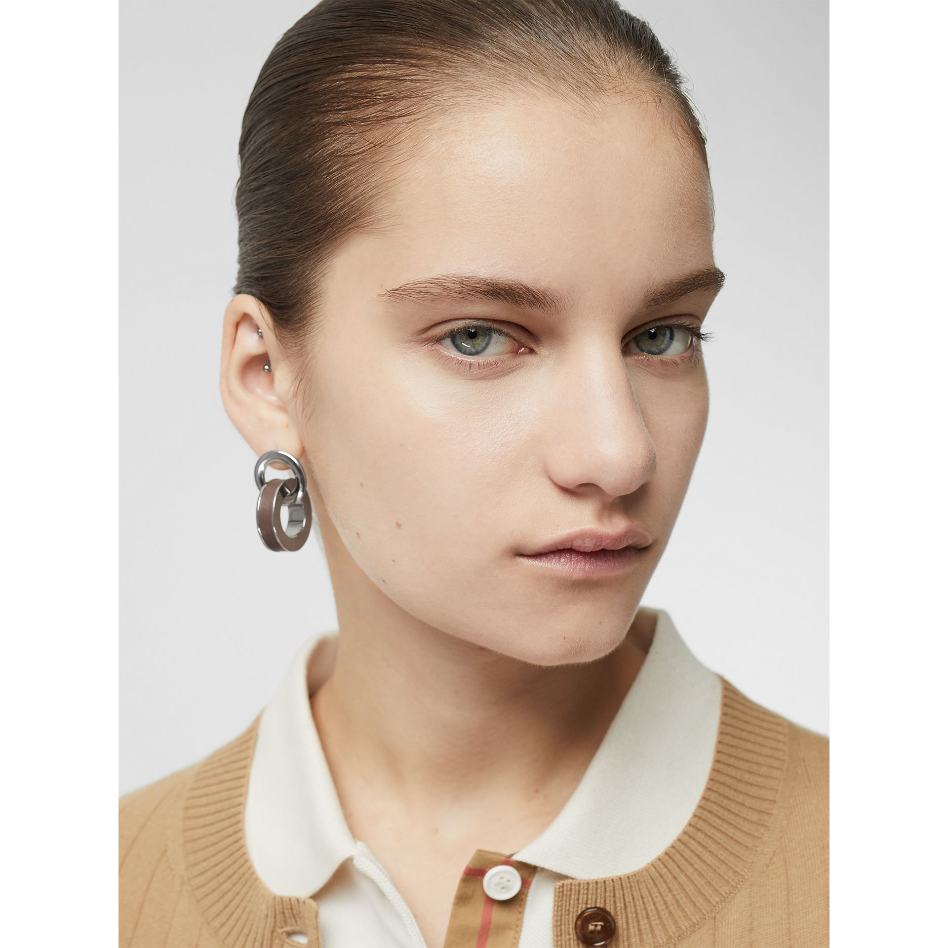Leather Detail Double Grommet Earrings in Palladio/tan - Women | Burberry - gallery image 2