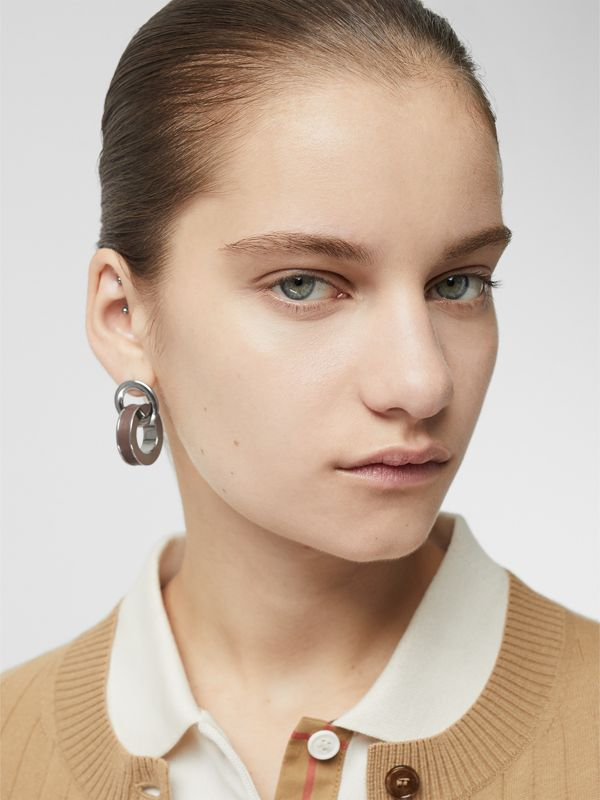 Leather Detail Double Grommet Earrings in Palladio/tan - Women | Burberry Hong Kong - cell image 2