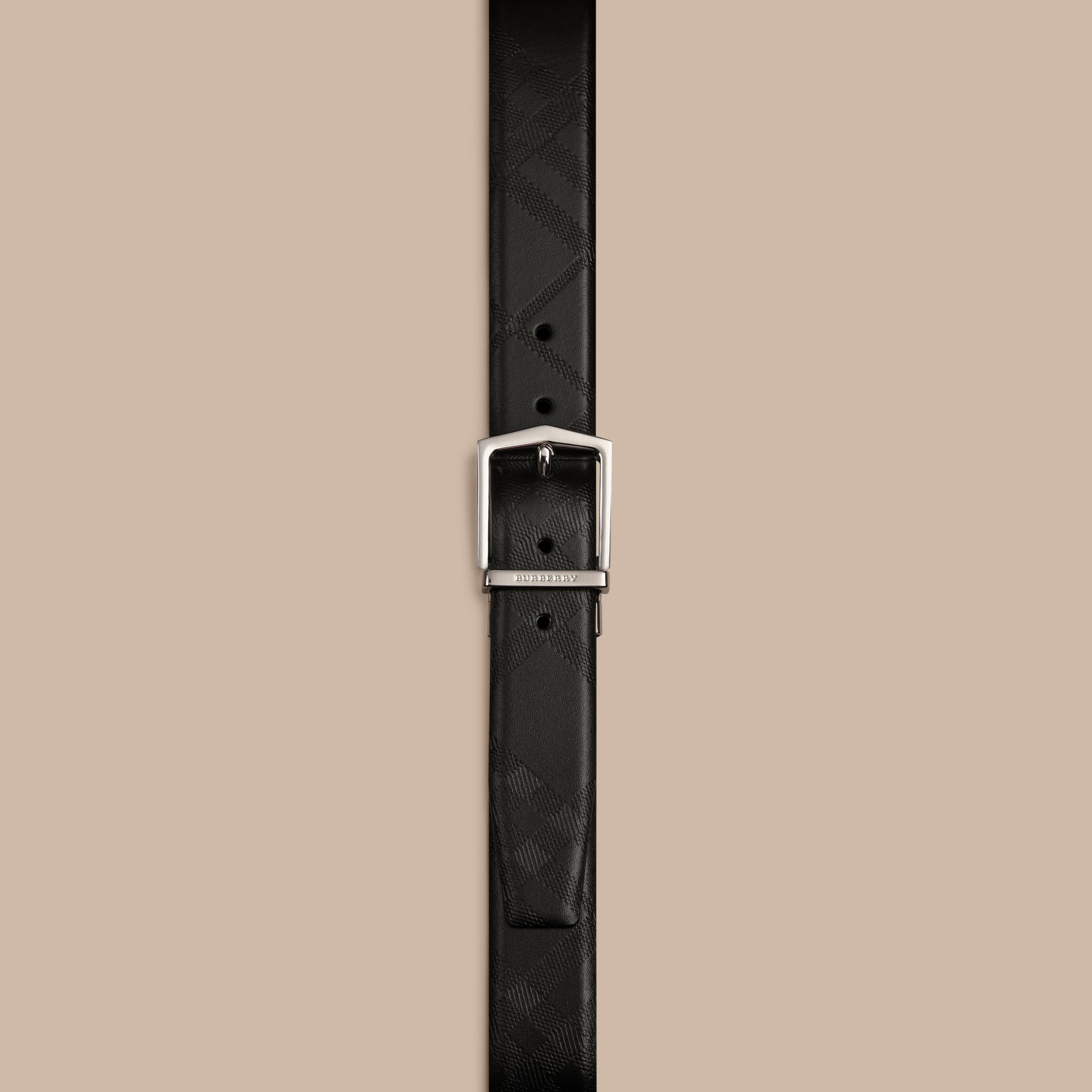 Black Reversible Embossed Check Leather Belt Black - gallery image 2