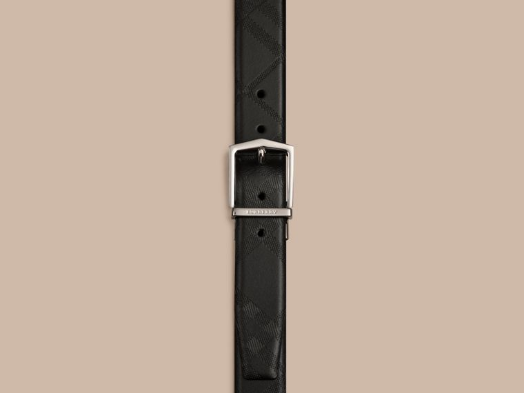 Reversible Embossed Check Leather Belt Black - cell image 1