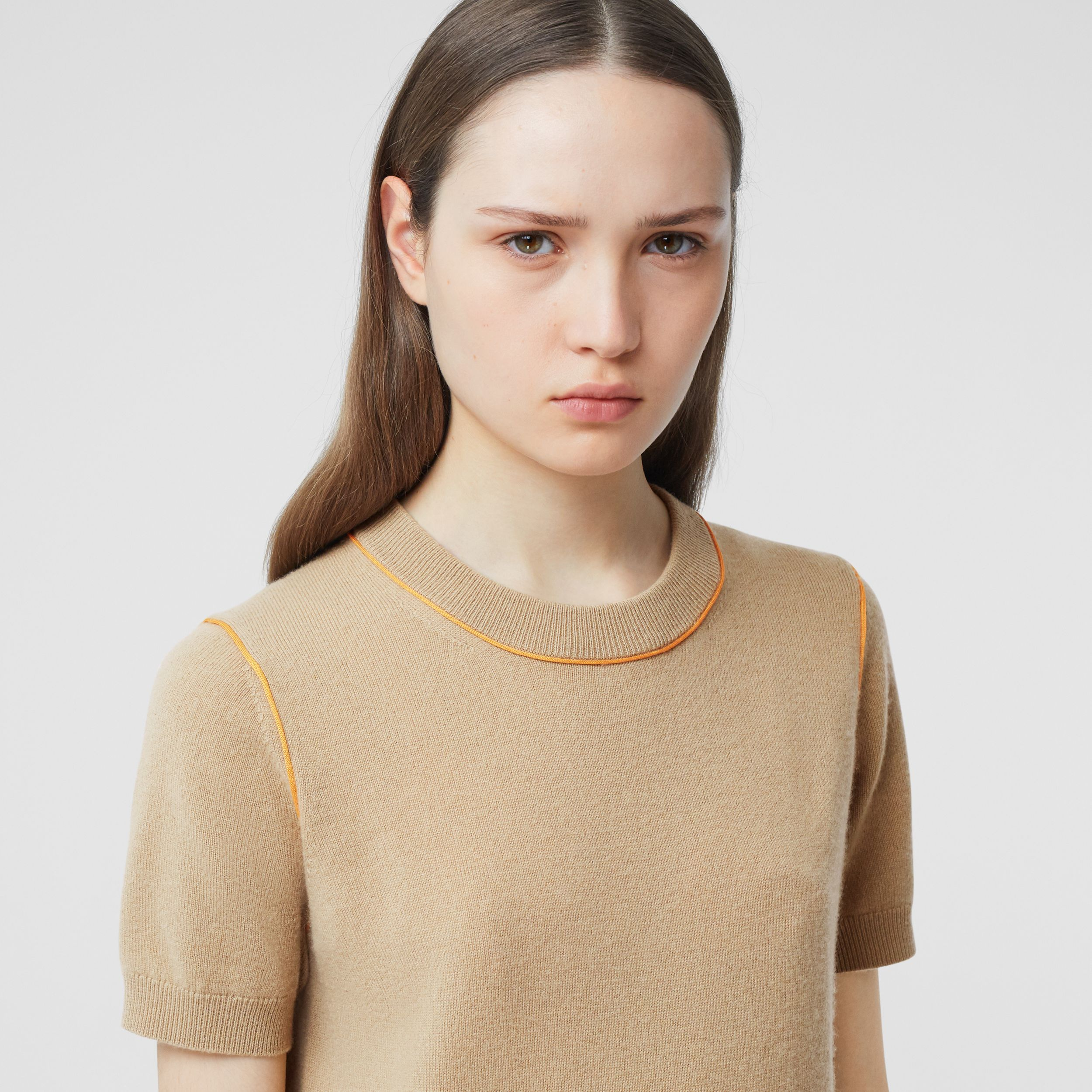Silk Trim Monogram Motif Cashmere Top in Archive Beige - Women | Burberry - 2