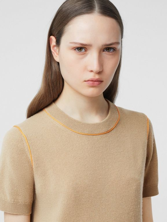 Silk Trim Monogram Motif Cashmere Top in Archive Beige - Women | Burberry - cell image 1