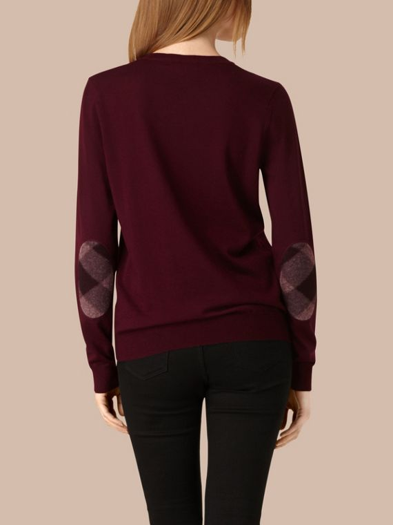 Burgundy red Check Detail Merino Wool Crew Neck Sweater Burgundy Red - cell image 2