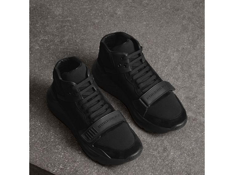 Suede Trim Neoprene High-top Sneakers in Black | Burberry - cell image 4